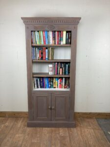 Vintage Carved Pine Bookcase with Cupboard