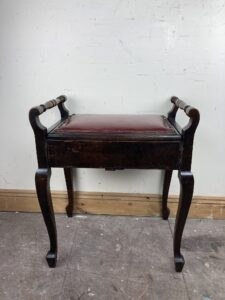 Antique Edwardian Mahogany Piano Stool with Red Leather